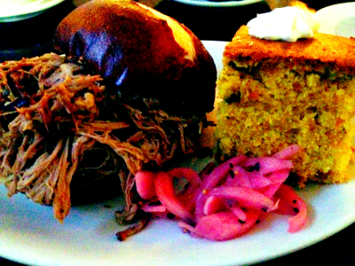 BBQ: pulled pork on a pretzel roll and cornbread from Chicago Q