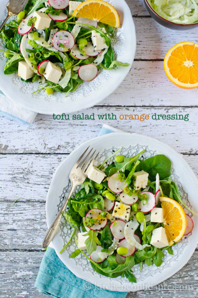 veganhome:  Tofu Salad with Orange Dressing (Recipe)