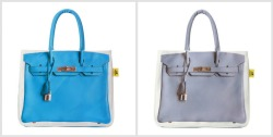 Ok, since I can't afford a Hermes Birkin, I want one of these cute tote bags by Banane Taipei ♥  The question is…which colour should I get?  Cobalt Blue or Lavender Grey?