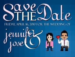 Our Save the Date designed by my 8bit hero.