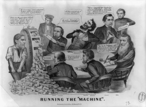 "Political Cartoon Attacking Abraham Lincoln during the Civil War  ""Running the ""Machine""' source: (Currier & Ives, 1864)  A scathing attack on the ineptness and military ineffectualness of the Lincoln administration, [during the Civil War, 1864] The cartoon derives its title from an indiscreet letter written by secretary of war Edwin McMasters Stanton to past President James Buchanan immediately following the Union army's defeat at the Battle of Bull Run. Stanton wrote, ""The imbecility of this Administration, culminated in that catastrophe (Bull Run), and irretrievable misfortune and national disgrace never to be forgotten are to be added to the ruin of all peaceful pursuits and national bankruptcy, as the result of Mr. Lincoln's `running the machine' for five months."" William Pitt Fessenden (far left) cranks out greenbacks from ""Chase's Patent Greenback Mill."" Fessenden succeeded Salmon P. Chase as Treasury secretary. He says, glaring at the figures seated around the table, ""These are the greediest fellows I ever saw. With all my exertions I cant satisfy their pocket, though I keep the Mill going day and night."" Seated at the table (clockwise from top left) are Stanton, Lincoln, secretary of state William H. Seward, Navy secretary Gideon Welles, and two unidentified contractors. At left a messenger hands an envelope to Stanton, announcing, ""Mr. Secretary! here is a dispatch. We have captured one prisoner and one gun; a great Victory."" Elated over this minuscule achievement, Stanton exclaims ""Ah well! Telegraph to General Dix [Union general John A. Dix] immediately."" Meanwhile, Lincoln is guffawing because he is reminded of ""a capital joke."" (See ""The Commander-in-Chief Conciliating the Soldiers Votes,"" no. 1864-31, for the allusion.) Seward, with a bell in one hand, hands an envelope ""Fort Lafayette"" to a young officer or cadet, saying, ""Officer! I am told that Snooks has called me "" Humbug'—Take this warrant and put him in Fort lafayette—I'll teach him to speak against the Government."" Seward was criticized for arbitrarily arresting civilians and incarcerating them in federal prison at Fort Lafayette. Beside Seward Gideon Welles ineptly works out a problem. ""They say the Tallahasse sails 24 miles an hour!—Well then, we'll send 4 Gunboats after her that can sail 6 miles an hour, and that will just make enough to catch her."" At center bottom, the two contractors ask for more greenbacks."