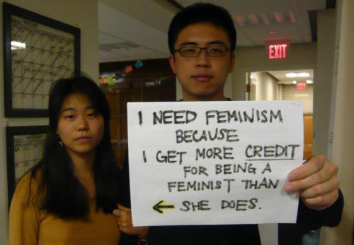 "littleojibwe:  jalwhite:  piddlebucket:  stfufauxminists:  male feminism. you're doin' it right.  oh gurl yes  This one, I will reblog.  When I say I'm a feminist, I get the eye roll and the ""Ohhhhh, great"" When any of my male friends say they are feminists they get ""Wow! It's great that you're standing up for women's rights!"""