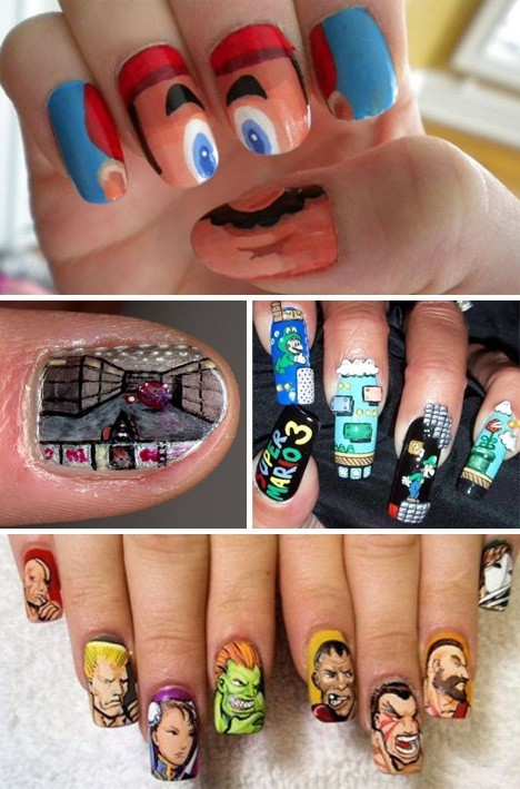 fantasyanime:  Classic Gaming Nails! Cool! The DOOM nail is my favorite.