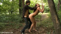 "sadisticmofo:  tied and fucked in the woods where no one could hear her scream  Apparently the woods are like space.  Also Yang says ""Me gusta.""  We are too odd to live."