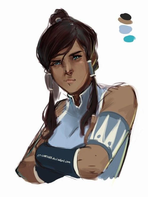 rosawund:  [Image: Digital painting of Korra, from the Legend of Korra, standing with her arms crossed, pouting.] ctchrysler:  Korra did this pout so many times in the first two eps. It's forever amusing lol OTL arm thingy is on the wrong side this is just another artblock sketch so I'm too lazy to fix it—