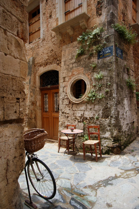 bluepueblo:  Ancient Street Corner, Isle of Crete, Greece  photo by craving