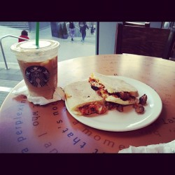 365 Days of Food - Day 112 #food #drink #starbucks #iced #caramel #macchiato #meatball #mozarella #panini (Taken with instagram)