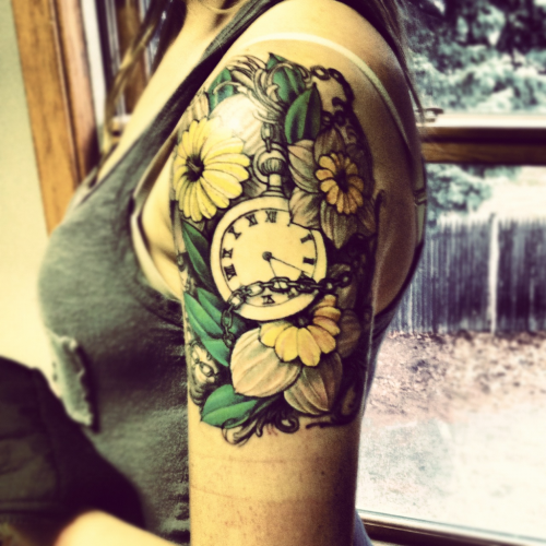 fuckyeahtattoos:  (almost done) the stopwatch represents that all heals with time. the daffodils represent moving on/rebirth