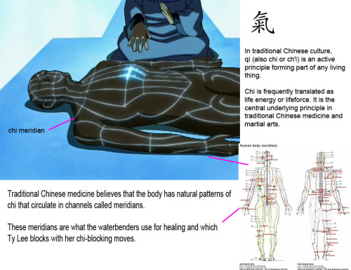 atla-annotated:  Chi and Healing - Waterbending The healing technique we see Katara learn at the Northern Watertribe is based on the Traditional Chinese Medicine idea of chi and chi meridians.  In traditional Chinese culture, qì (also chi or ch'i) is an active principle forming part of any living thing.Chi is frequently translated as life energy or life-force. It is the central underlying principle in traditional Chinese medicine and martial arts. Traditional Chinese medicine believes that the body has natural patterns of chi that circulate in channels called meridians.  These meridians are what the waterbenders use for healing and which Ty Lee blocks with her chi-blocking moves.  Image source: One