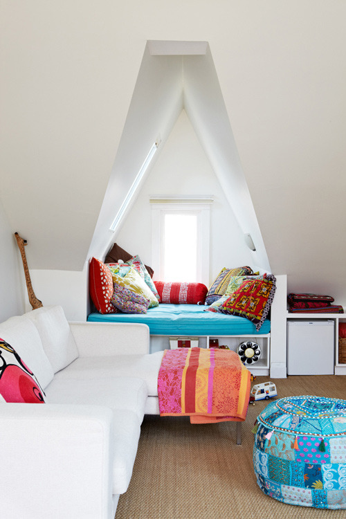 really colorful and happy reading nook