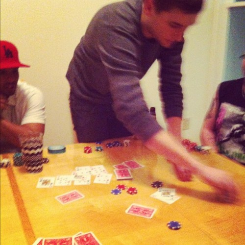 04.11.12 - Richard put together a poker night. $50 buy in was too rich for my blood so I worked instead. but I did catch Thomas winning this hand :)) #photochallenge #photoaday2012  (Taken with instagram)