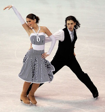 Emese Laszlo and Mate Fejes performing their original dance at the 2009 World Championships. Photo by Kevork Djansezian.