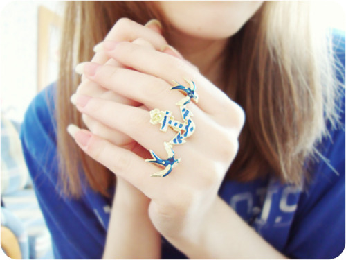 Swallows and Anchor Two Finger Ring