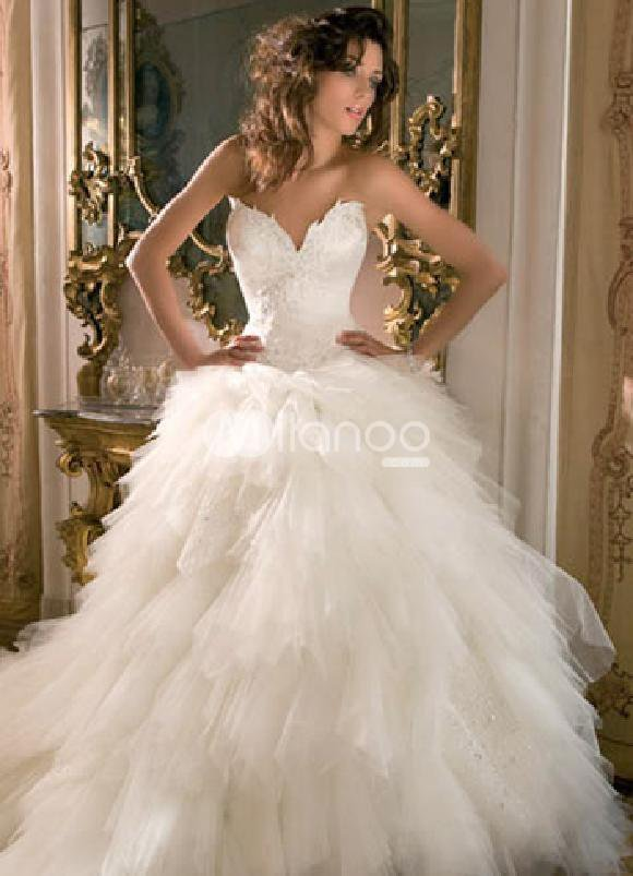 Ivory Sweet Heart wedding dress :  wedding luxury white satin
