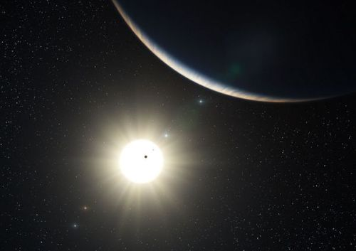 "expose-the-light:  Record Nine-Planet Star System Discovered? Alien star likely has more planets than the sun, astronomers say.   An artist's conception of the planetary system around HD 10180.Illustration courtesy of L. Calçada, European Southern Observatory   Andrew Fazekas for National Geographic News Published April 10, 2012  A star about 127 light-years from Earth may have even more planets than the sun, which would make the planetary system the most populated yet found. According to a new study, HD 10180—a sunlike star in the southern constellation Hydrus—may have as many as nine orbiting planets, besting the eight official planets in our solar system. The star first made headlines in 2010 with the announcement of five confirmed planets and two more planetary candidates. Now, reanalysis of nearly a decade's worth of data has not only confirmed the existence of the two possible planets but also uncovered the telltale signals of two additional planets possibly circling the star, bringing the total to nine. ""There certainly is, according to my results, strong evidence that this is the most populous planetary system detected—possibly even richer than the solar system,"" said study leader Mikko Tuomi, an astronomer at the University of Hertfordshire in the U.K. READ MORE   Pluto is still a planet in my heart."