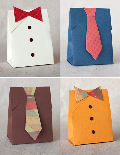 Check out these A-DOR-able Shirt & Tie gift boxes Kristen from Paper Crave put together! She's even provided a downloadable template and full how-to instructions on her blog. This is such a sweet and clever idea that would be perfect for all kinds of gifts for dad. Happy crafting and Happy early Father's Day everyone! (source: Twig & Thistle)