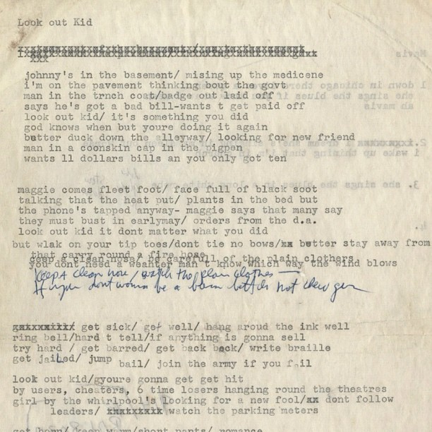 helencroire:  Subterranean Homesick Blues…(Bob Dylan's manuscript!) #BobDylan #manuscript (Taken with instagram)