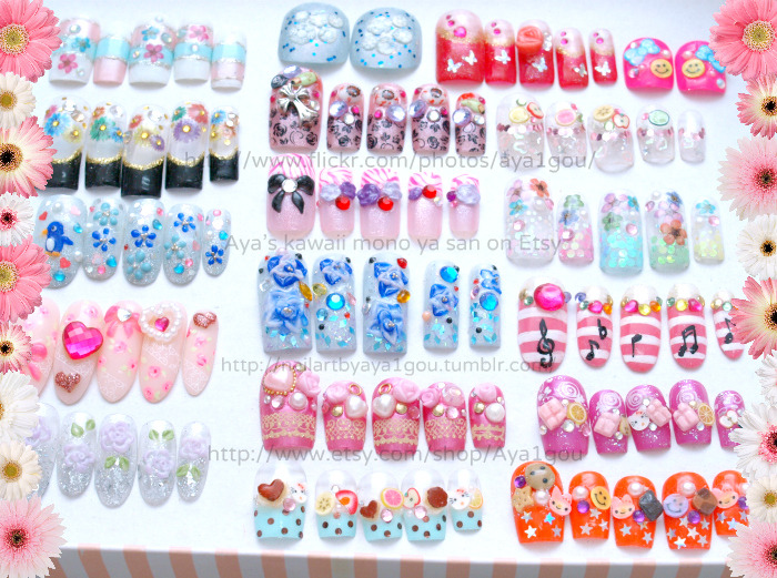 "nailartbyaya1gou:  Giveaway! The prize is ONE SET OF FAKE NAILS BY AYA1GOU Number of winners:1 Ending date of the giveaway: 23:59 04/14/2012, Japan time How?: Reblog this post The photo you see is collection of my old art work, I have been on Etsy over 3 years and never sold these nails, some of them are expired (I relisted many times but gave up) If you critique about these nails, you get 2 chances to win! ^^ Don't give me ""it's too tacky"" and ""the nails are too long"", because, I sell even more tacky, weird, colorful (and long) nails every single day! Do you think it was the design, or marketing? or theme (the snowflakes is winter limited, while the pedicure is for summer?) http://www.etsy.com/shop/Aya1gou/sold The nails will be shipped from Japan ^^ For the girls ""OMG OMG I WANT THE NAILS RIGHT NOOOOOW"" Now I have ""ready to ship"" section on my shop!  ^^ http://www.etsy.com/shop/Aya1gou?section_id=11230924 Thank you for looking and sorry for the long post, here is your potato. lol.     Some of you might be interested in this contest! Aya is a cool girl. :-)"