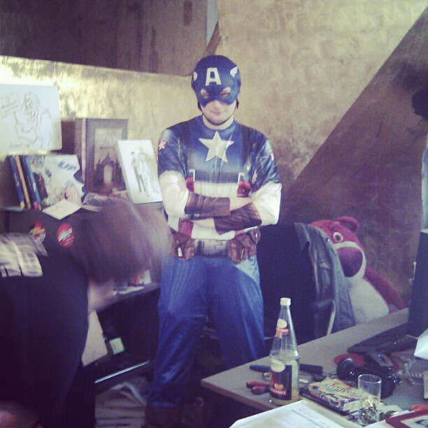 Moviepilot Labs' very own superhero, Oliver, here to save the day!  leawillkuchen:  Captain Moviepilot (Taken with instagram)