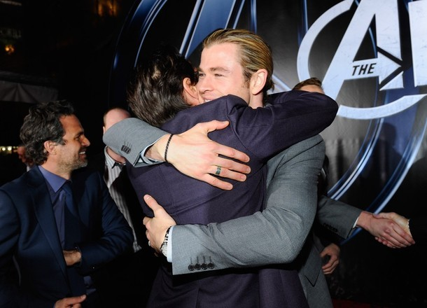 Robert Downey Jr. and Chris Hemsworth at The Avengers premiere.