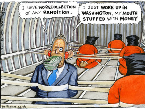(via Steve Bell on Tony Blair and rendition – cartoon) Tony Blair has 'no recollection' of Libyan dissident's rendition