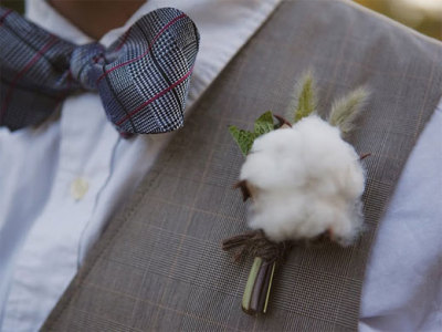 Cotton boutonniere via JL Designs