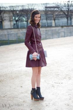 Burgundy leather coat