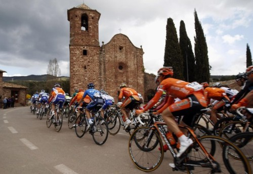 The pack rides in front of El Brull during the 139 km (86 miles) first stage of the 92nd Volta a Catalunya cycling race starting and ending in Callella, March 19, 2012. Team GreenEdge rider Michael Albasini of Switzerland won the stage. (via Photo from Reuters Pictures)