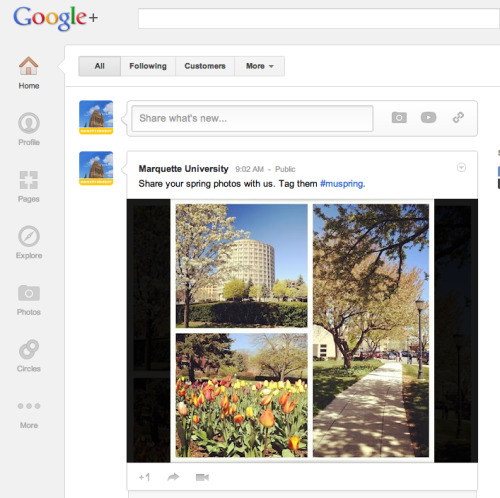 If you're checking out the new Google+ redesign, stop by and add us to your circles: http://gplus.to/marquetteu