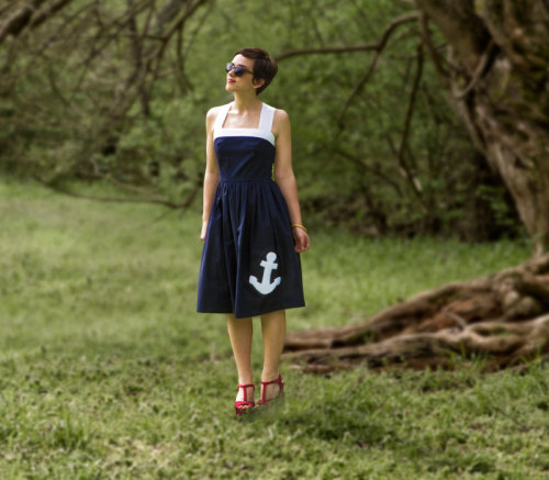 Q's Daydream Anchors Away Navy Dress