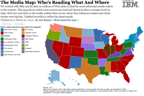radio-free-america:  mishellemarsh:  ilovecharts:  Who Is Reading What, Where?  I find it shocking that people in New York read the New York Times.  I personally find it shocking that there are whole swaths of the nation that rely on USA Today for their news, lol.  New Mexico, Minnesota and Wisconsin either have a good sense of humor or are very gullible.
