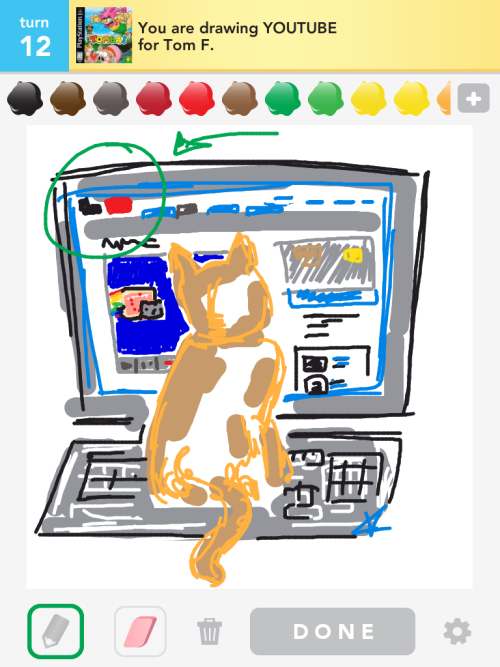 #DrawSomething a cat watching the Nyan cat video on YT (admittedly giggled when i drew this one)