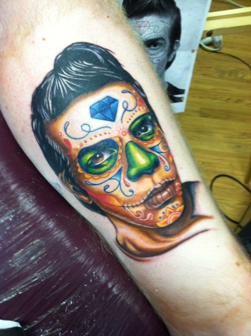The male of my day of the dead tattoos. Done by Ariel Robinson at Visions tattoo!