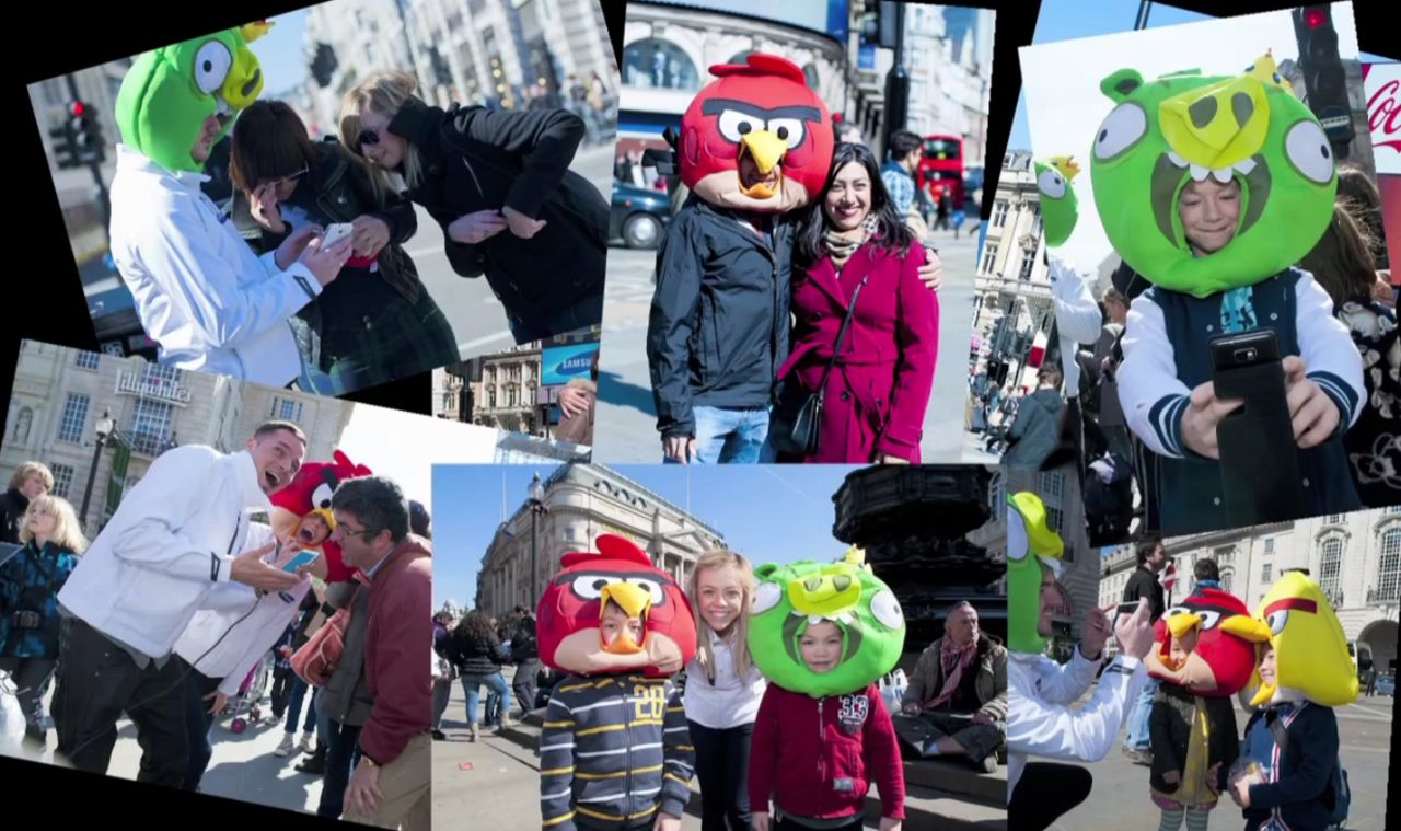 Fans scream for Angry Birds in Piccadilly Circus with Samsung On Good Friday, Samsung and the Angry Birds took to Piccadilly Circus to join crowds of people to scream at the top of their lungs. Why? Samsung let members of the public play a specifically designed Angry Bird's crowd game on Samsung's massive Piccadilly Circus screen. The lounder they shouted or screamed into the Samsung Galaxy Note the further the Angry Bird would fly across the screen and grab a higher score. Click here to watch the video