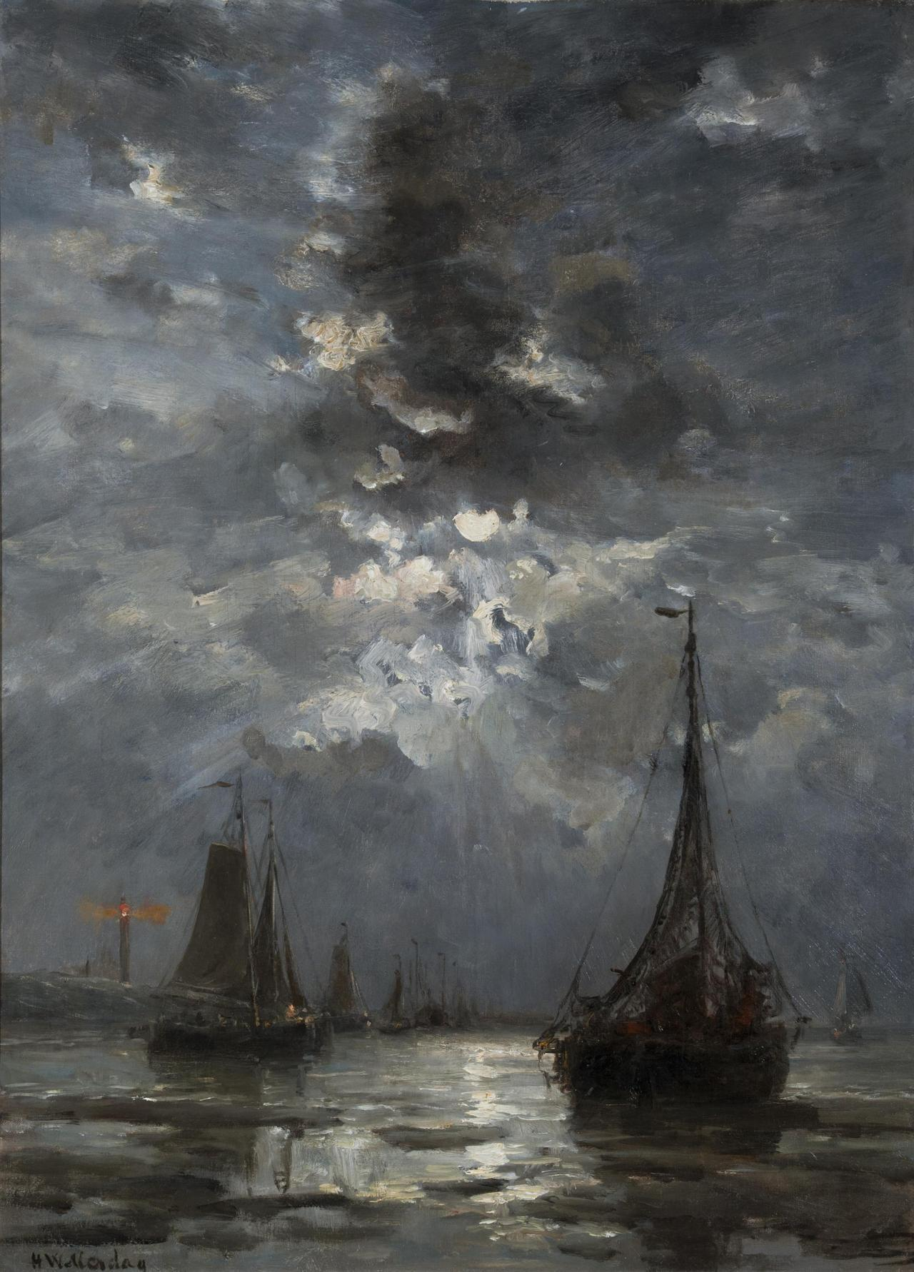 artandopinion:  Fishing Boats by Moonlight Hendrik Willem Mesdag