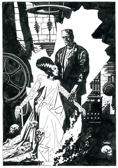 "Mike Mignola and 'The Bride of Frankenstein"" I adore Hellboy, fusing old school horror with modern storytelling is just a pure win-win.  But Mignola's art is what makes the character, his art style is totally original whilst complimenting the story. This has to be one of my favourite art pieces I have found on the net.  'The Bride of Frankenstein' is a classic horror film, with The Bride (even with her short screen time) deeply affecting me long after watching.  The creature design on both Frankensteins Monster and The Bride cannot be unbeaten, and it is great to see Mignola's take on the characters."