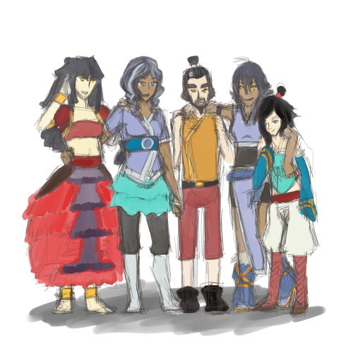 WIP shot of Kayrie's family~ Left to right => Hamish (oldest sister, firebender), Meika (mother, waterbender), Huezen (father, nonbender), Kayrie (middle sister, nonbender), Ummi (youngest sister, nonbender)