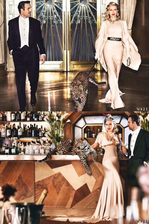 "Scarlett Johansson, Mark Ruffalo & a leopard. Photos by Mario Testino, US Vogue May 2012 Very ""Bringing Up Baby"" to me :-)"