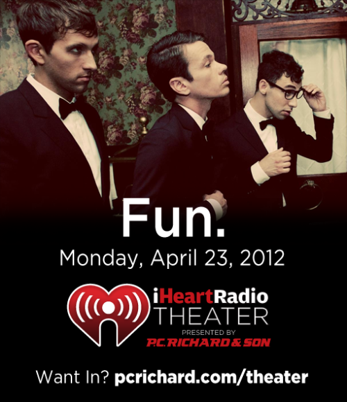 The iHeartRadio Theater presented by P.C. Richard & Son is a 200-person venue in New York City that hosts exclusive concert events. You cannot buy tickets to these private performances; you can only win your way in on the P.C. Richard & Son Facebook and Twitter pages. Indie pop band Fun. will be at the iHeartRadio Theater presented by P.C. Richard & Son on Monday, April 23rd! Only 200 people will be allowed into the show, and your chance is on Facebook and Twitter. How to Enter  You can enter for a chance to win tickets to this show by filling out the entry form on Facebook after liking our page, or retweet the message on Twitter found here. Good luck!  How much would you like to be at this show? Let us know in the comments!
