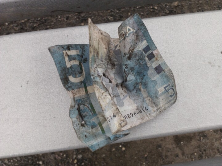 Just found the scrummiest looking $5 bill. Would you pick it up? (Photo by akurjata)