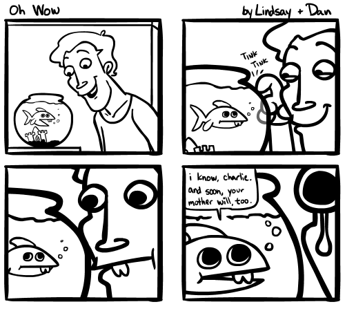Lindsay and I did another comic together. I'm sorry about the last frame.