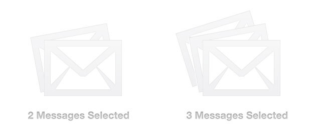 Mail - When selecting multiple messages the number of envelopes increases from a couple to many depending on the amount selected. /via David