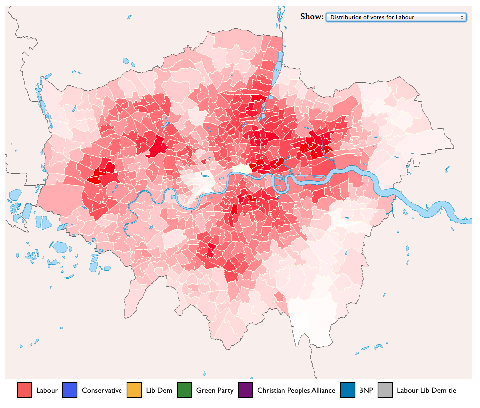 London mayoral election 2008: how the city voted, mapped  Who voted for Boris in 2008? Where was Labour's vote strongest? This map from Factmint shows how votes were distributed across the wards that make up the city. The detail means that patterns of voting emerge: from the BNP votes in the Essex boroughs, through to the distribution of Green party votes in 2008. What does it tell us about how London will vote in 2012? Use the dropdown menu to see how first and second preferences compare - and how each party fared