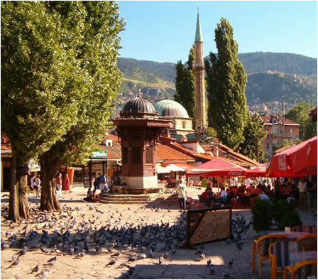Old Town Sarajevo. OMG LOOK AT THE PIGEONS.