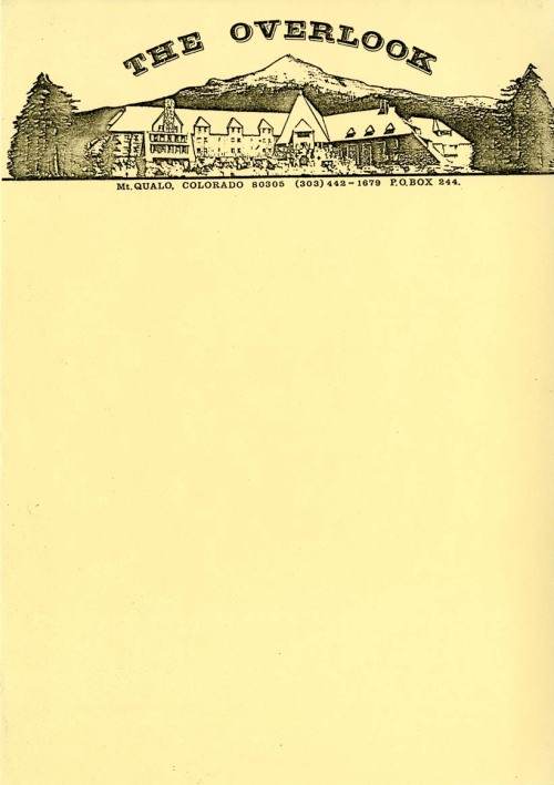 "Production prop letterhead for the Overlook Hotel, created for The Shining. The letterhead can be briefly seen in the film when Dick Hallorann is trying to call the hotel from his Florida home. Typed onto the letterhead appears to be a phone list for the Overlook. There is no ""Mt. Qualo"" in Colorado. The significance of this name, if any, is unknown. Original located in the Stanley Kubrick Archive in London."