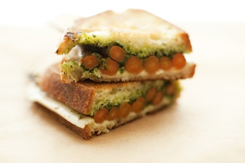 whiskeysoaked:   Grilled Cheese with Roasted Carrots and Green Pesto