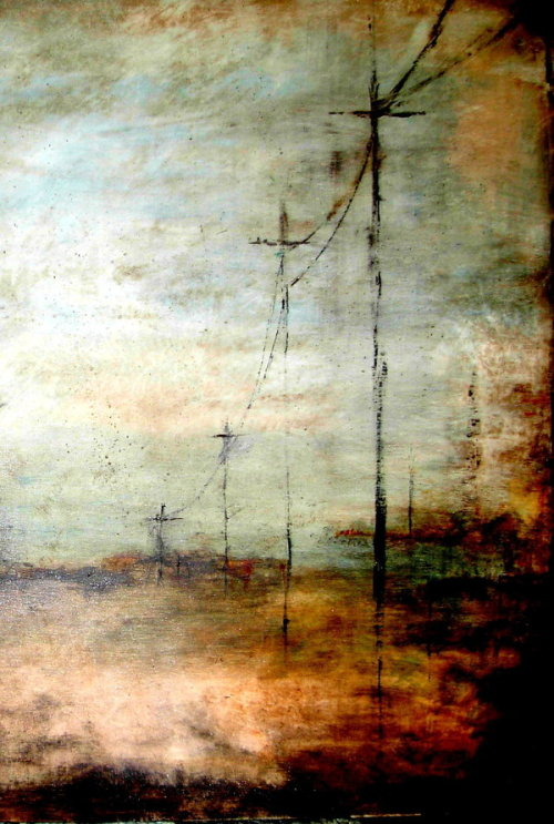 grafofilia:  Side by side. Red. Arm in arm. Telegraph poles.