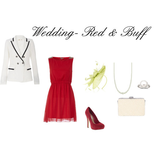 petitedancer11:  Wedding- Red and Buff by petitedancer11 featuring a black and white jacket  Dorothy Perkins red sleeveless dress, $45Black and white jacket, £40Steve Madden leather heels, $80Coast clutch handbag, £60White sapphire jewelry, $501928 faux pearl jewelry, $18NIGEL RAYMENT feather wedding hair accessory, £119   AGD COLORS!!!! STAY CLASSY!