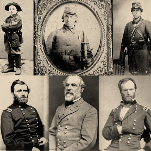 "APRIL 12, 1861: The Civil War BeginsOn this day in 1861, the Civil War began with the Confederate army's attack on Union-controlled Fort Sumter in South Carolina. ""Send me your picture"" was a common refrain in letters to soldiers from the homefront. The soldiers obliged often sending carte de viste photographs - so-called because they were the size of visiting cards.For more portraits of soldiers, visit Ken Burns's companion site for his award-wining documentary, The Civil War. Photos (clockwise): boy soldier, Pvt. Philip Carper (C.S.A), unknown Confederate soldier,  Maj. Gen. William T. Sherman, Gen. Robert E. Lee, and Maj. Gen. Ulysses S. Grant."