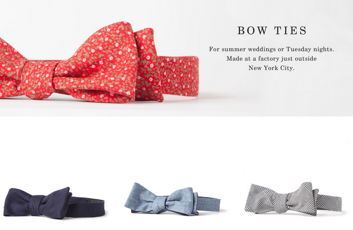 Everlane — Spring Bow Ties for summer weddings or Tuesday nights ;)